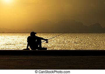 lake., silhouette, peche, homme