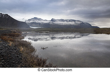 Lake, Snow Mountain, Countryside in Iceland.