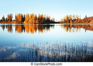 Lake Strbske pleso in autumn time