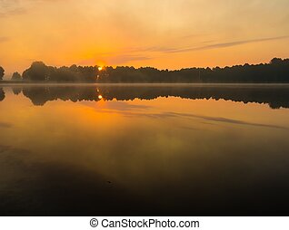 Lake sunrise in summer