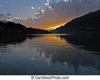 lake sunset - a sunset over a Switzerland lake