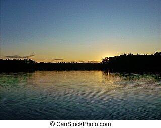 Lake sunset contrast