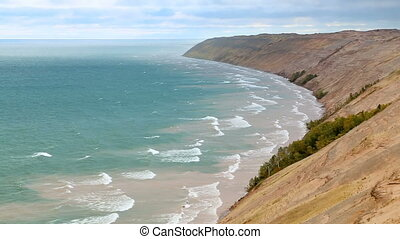 Lake Superior and Dunes Loop - Looping video features waves...