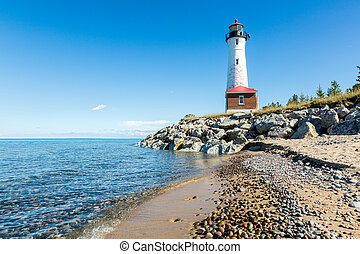 Lake Superior Beach and Crisp Point Light in the Upper Peninsula of Michigan