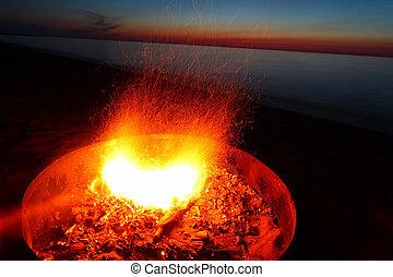 Lake Superior Beach Campfire