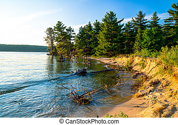 Lake Superior Coast - Remote wooded shoreline of wild and ...
