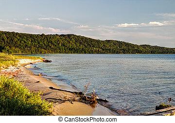 Shore of Lake Superior along the Pictured Rocks National Lakeshore in Munising, Michigan.