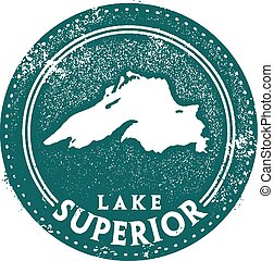 The largest of the Great Lakes, Lake Superior, in a vintage rubber stamp style.
