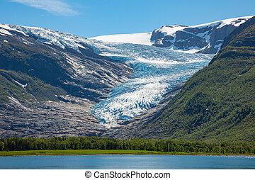 Lake Svartisvatnet in Helgeland in Norway, with Svartisen glacier in the background