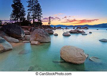 Lake Tahoe beach - Lake Tahoe after sunset