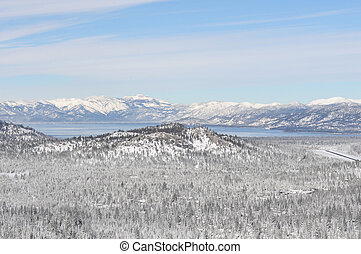 Lake Tahoe California Covered in Snow during the Winter