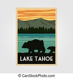 lake tahoe national park vintage poster outdoor vector illustration design, wild bear poster