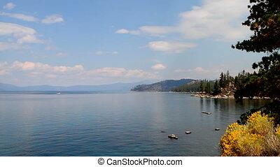 Lake Tahoe North - View looking down on Lake Tahoe, Nevada,...
