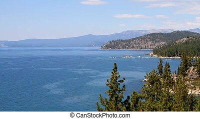Lake Tahoe Pan - Mountain view of Lake Tahoe, Nevada looking...