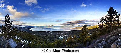Lake Tahoe Panoramic shot over Incline Village, Nevada