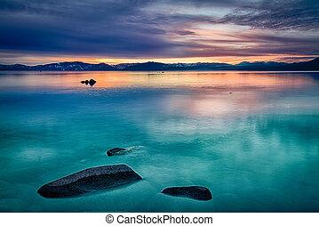 Lake Tahoe - Reflection of clouds in a lake, Lake Tahoe,...
