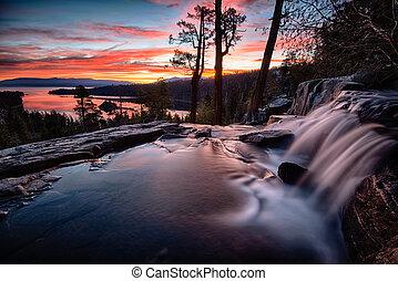 Lake Tahoe - Water falling into a lake, Lake Tahoe, Sierra...