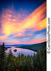 Lake Tahoe - High angle view of a lake, Lake Tahoe, Sierra...