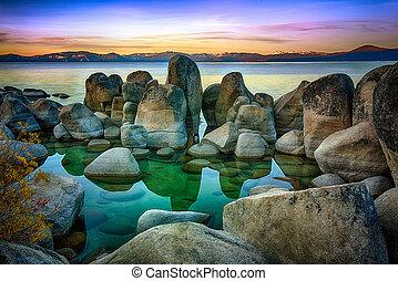 Lake Tahoe - Rocks in a lake, Lake Tahoe, Sierra Nevada,...