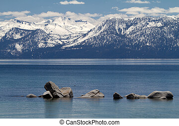 Lake Tahoe with view on Sierra Nevada mountains