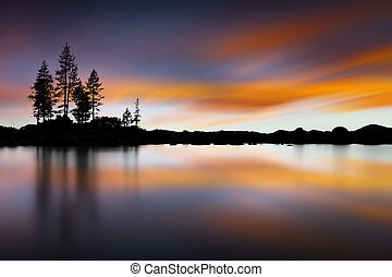 Lake Tahoe Sunset at Sand Harbor Beach. Long exposure with smooth water
