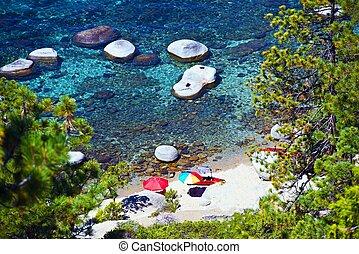 Lake Tahoe Vacation Destination. Summer in the Sierra Nevada Famous Lake. Tahoe Beach.