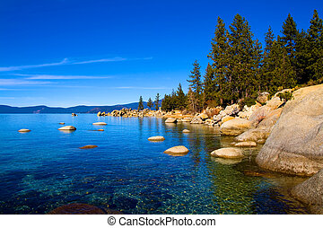 Lake Tahoe with clouds over it