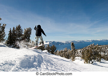 Lake Tahoe with Jumping Snow Border