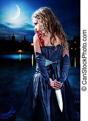 lake., tenue, terreur, éclairé par la lune, girl, couteau