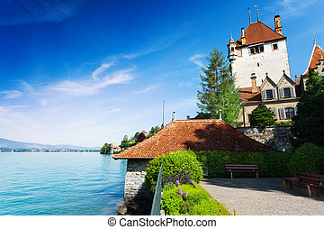 Lake Thun and Oberhofen castle