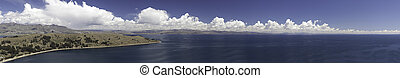 lake titicaca between Peru and Bolivia panorama