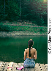 lake., topless, floresta, montanha, mulher