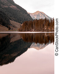 Lake, trees and mountains at Austria Alps