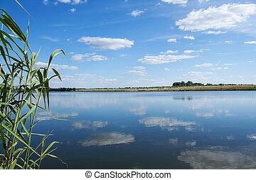 Lake under blue cloudy sky