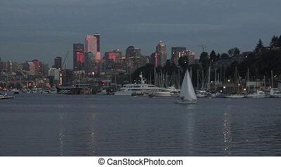 Lake Union Boats Homes Dock Seattle City Skyline Washington