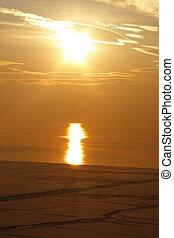 Lake Van sunset at winter, Eastern Turkey