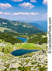 Lake Vidal and Calcescu in Parang mountains - Landscape with...