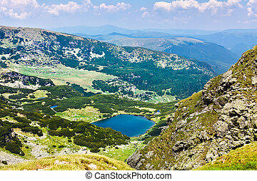 Lake Vidal in Parang mountains - Landscape with lakes Vidal...