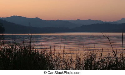 Lake view in twilight time with mountain