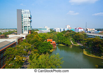 Lake view of Park in the city Bangkok, Thailand