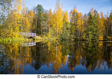 Lake view with a wooden bridge