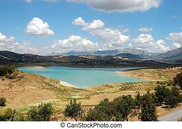 View across Lake Vinuela, Malaga Province, Andalusia, Spain, Western Europe.