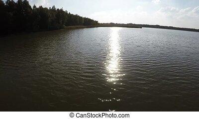 lake., voler, forêt, sur