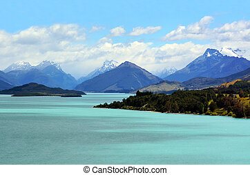 Lake Wakatipu New Zealand NZ NZL - Landscape of lake...