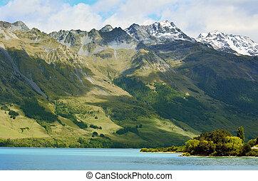 Lake Wakatipu New Zealand NZ NZL - Landscape of high range...