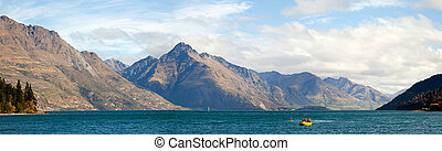 Lake Wakatipu of Queenstown New Zealand Panorama