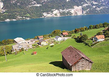 Lake Walensee in the Swiss Alps, Switzerland