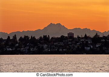 Lake Washington Mount Olympus Seattle Sunset from Kirkland Washington Pacific Northwest Closeup Evergreen