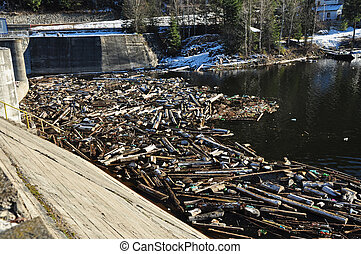 Lake water pollution with garbage - Water pollution in a...