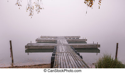 Lake with fog in the early morning